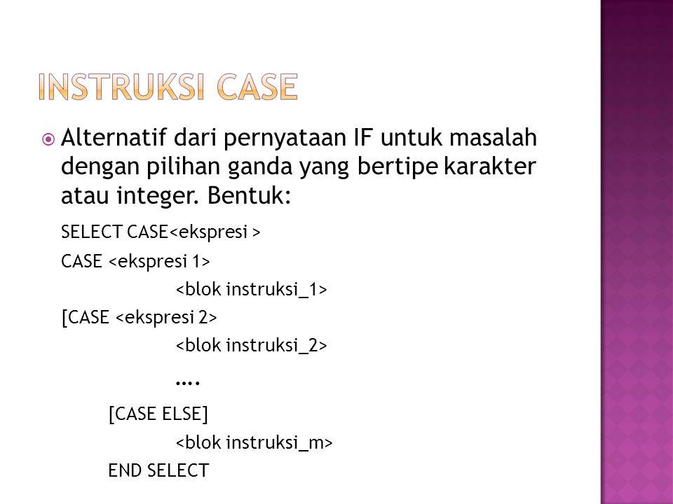 SELECT CASE<ekspresi >