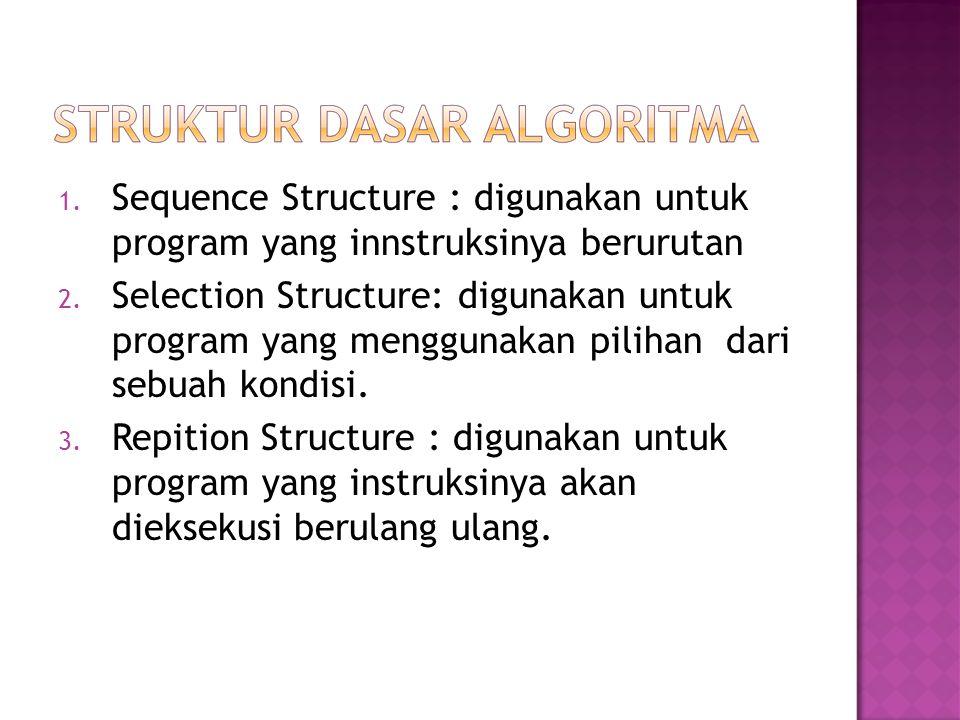 Sequence Structure : digunakan untuk program yang innstruksinya berurutan