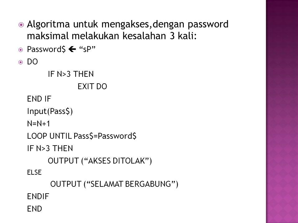 Algoritma untuk mengakses,dengan password maksimal melakukan kesalahan 3 kali:
