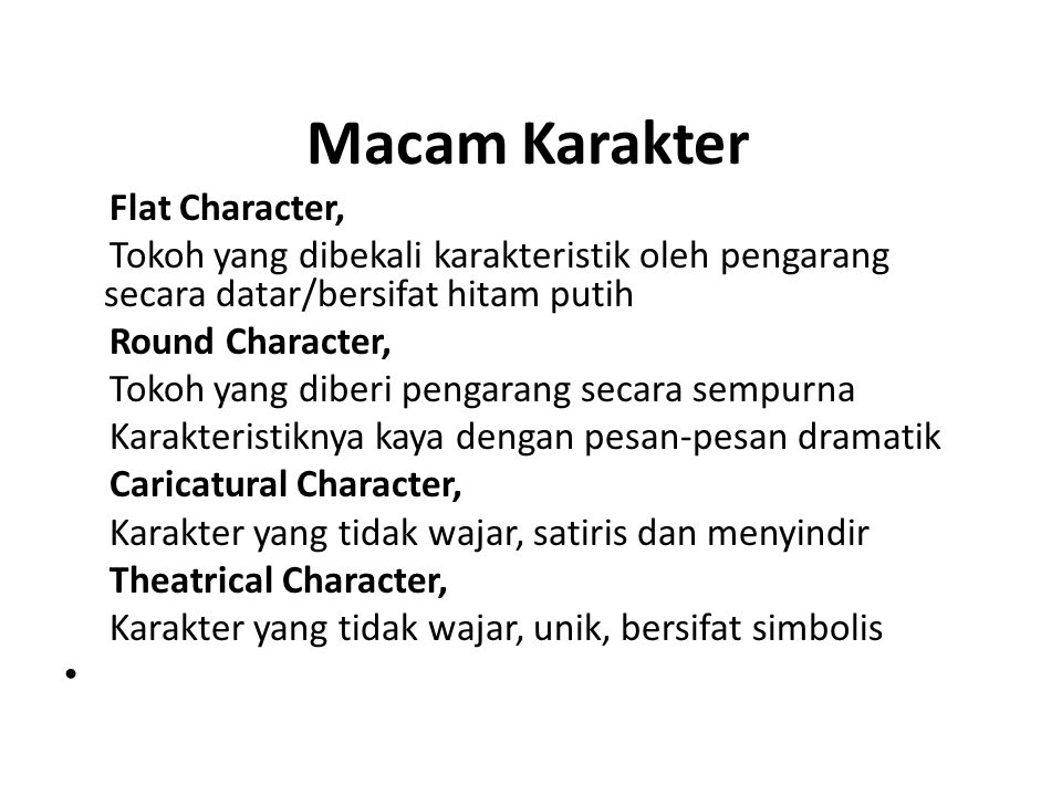 Macam Karakter Flat Character,