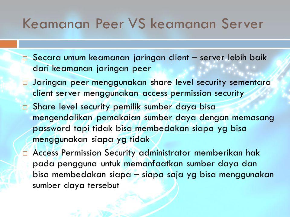 Keamanan Peer VS keamanan Server
