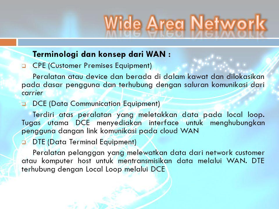 Wide Area Network Terminologi dan konsep dari WAN :