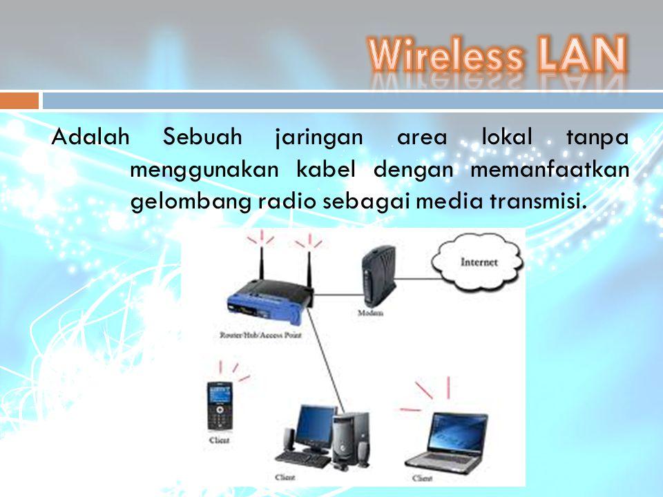 Wireless LAN Adalah Sebuah jaringan area lokal tanpa menggunakan kabel dengan memanfaatkan gelombang radio sebagai media transmisi.