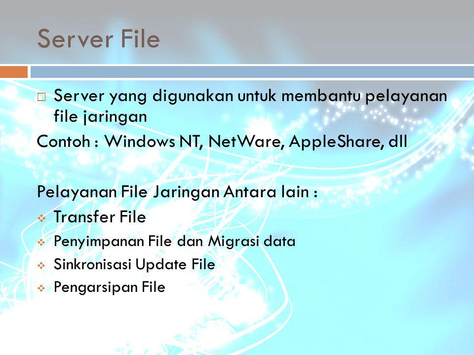 Server File Server yang digunakan untuk membantu pelayanan file jaringan. Contoh : Windows NT, NetWare, AppleShare, dll.