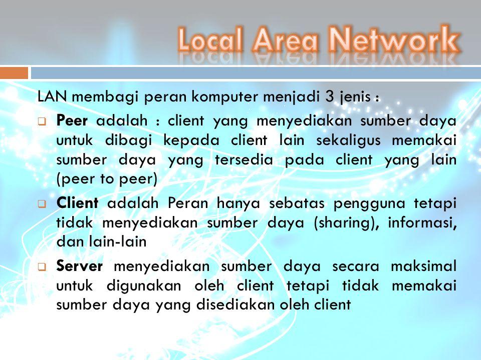 Local Area Network LAN membagi peran komputer menjadi 3 jenis :