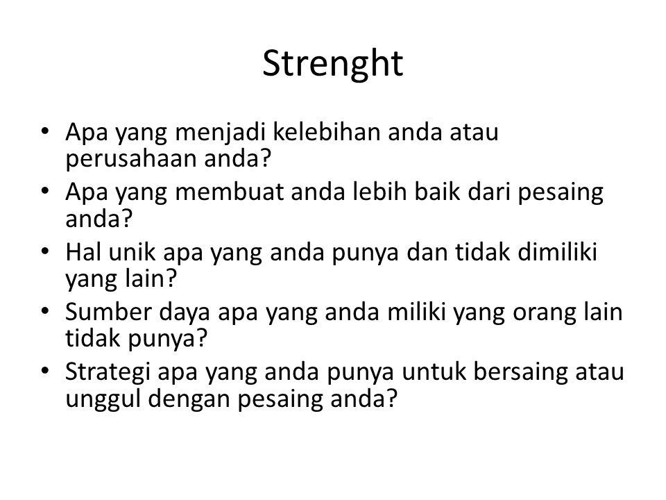 Strenght Apa yang menjadi kelebihan anda atau perusahaan anda
