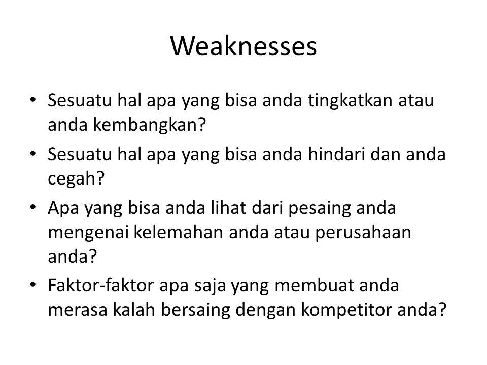 Weaknesses Sesuatu hal apa yang bisa anda tingkatkan atau anda kembangkan Sesuatu hal apa yang bisa anda hindari dan anda cegah