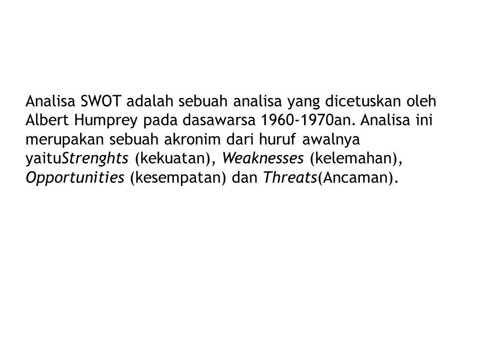 Analisa SWOT adalah sebuah analisa yang dicetuskan oleh Albert Humprey pada dasawarsa 1960-1970an.