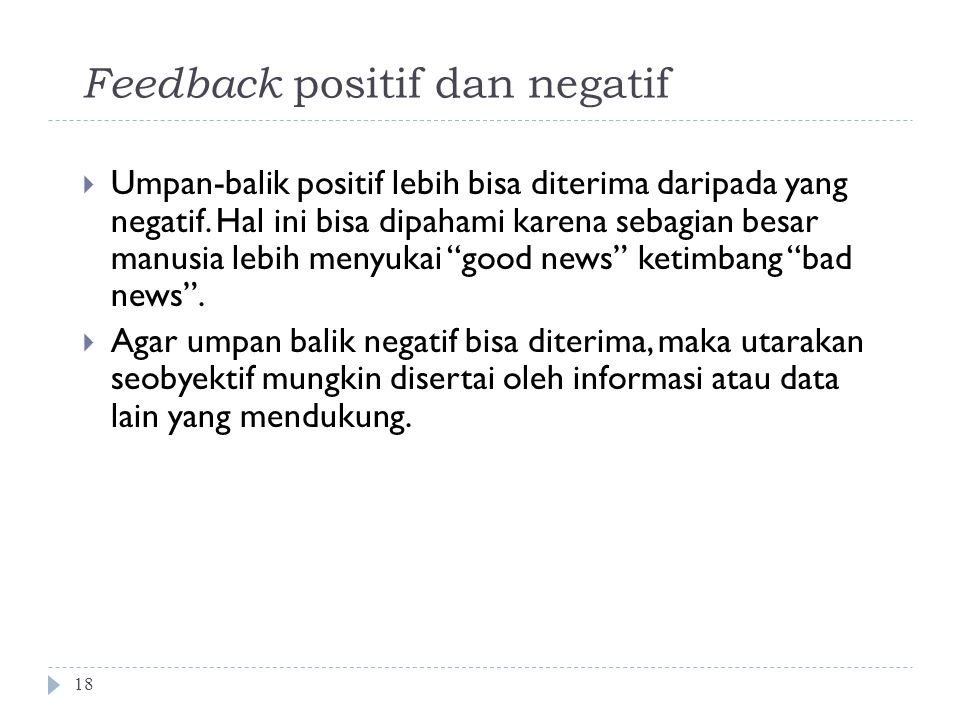 Feedback positif dan negatif