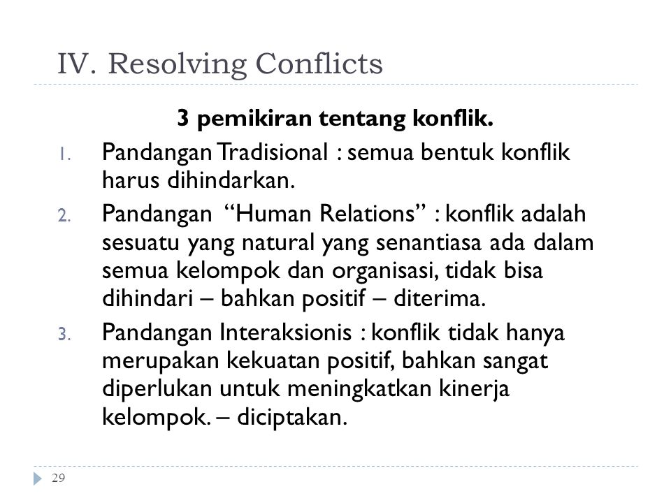 IV. Resolving Conflicts