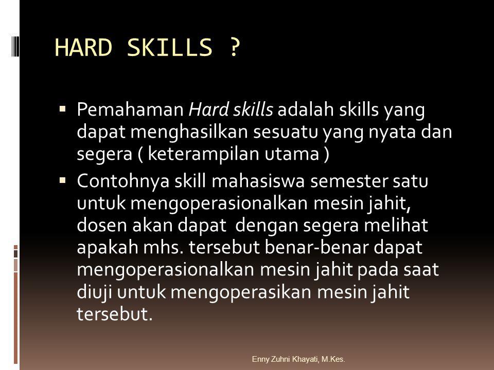 HARD SKILLS Pemahaman Hard skills adalah skills yang dapat menghasilkan sesuatu yang nyata dan segera ( keterampilan utama )