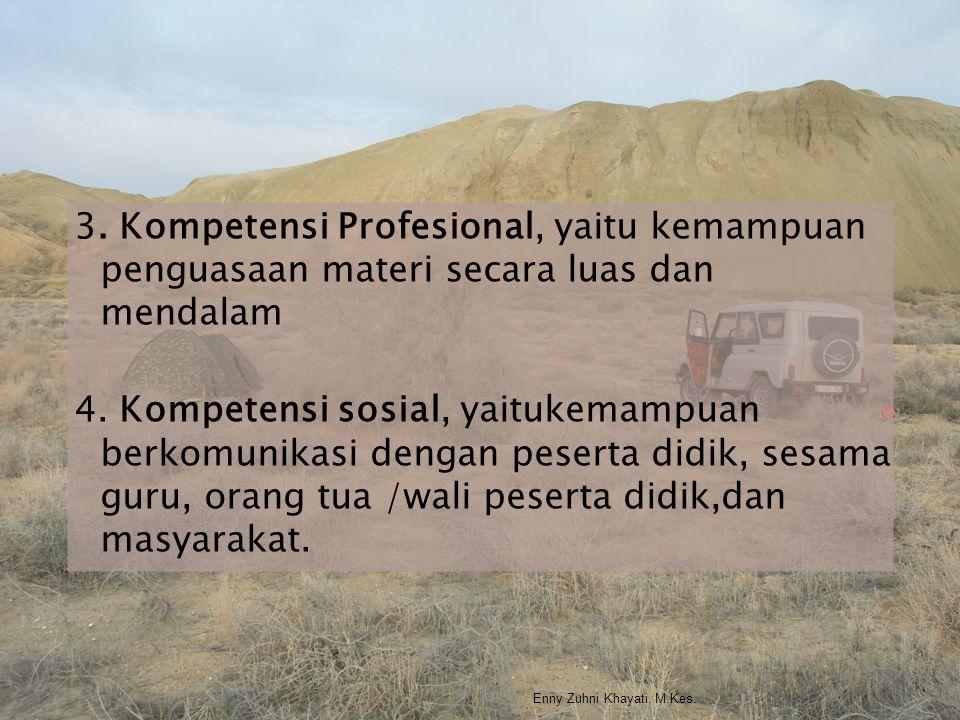 3. Kompetensi Profesional, yaitu kemampuan penguasaan materi secara luas dan mendalam