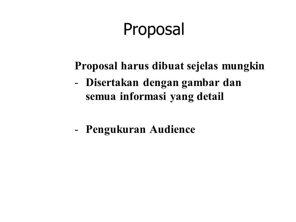 Proposal Proposal harus dibuat sejelas mungkin