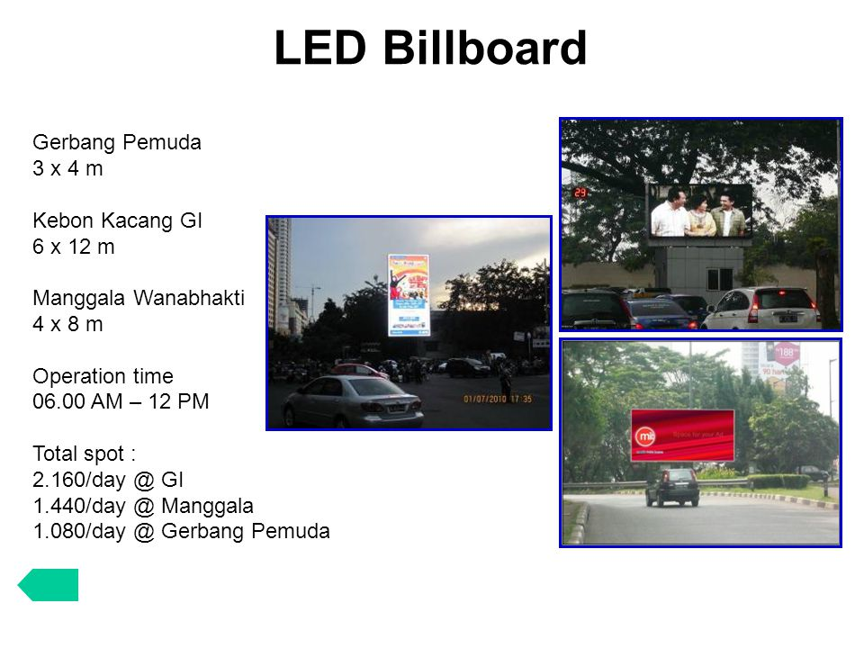 LED Billboard Gerbang Pemuda 3 x 4 m Kebon Kacang GI 6 x 12 m