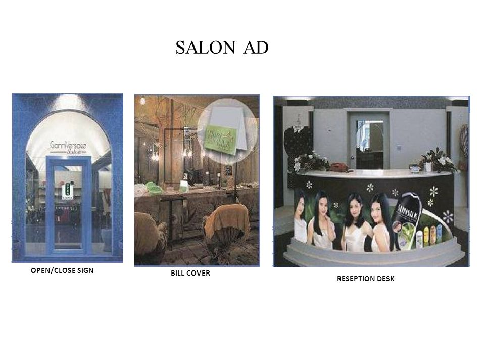 SALON AD OPEN/CLOSE SIGN BILL COVER RESEPTION DESK