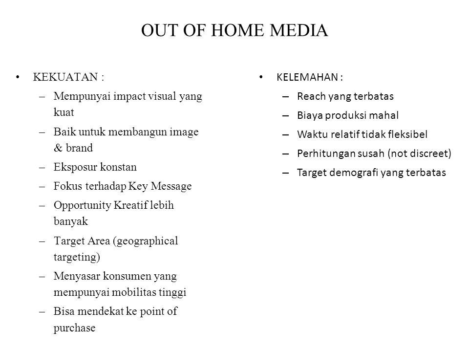 OUT OF HOME MEDIA KEKUATAN : Mempunyai impact visual yang kuat