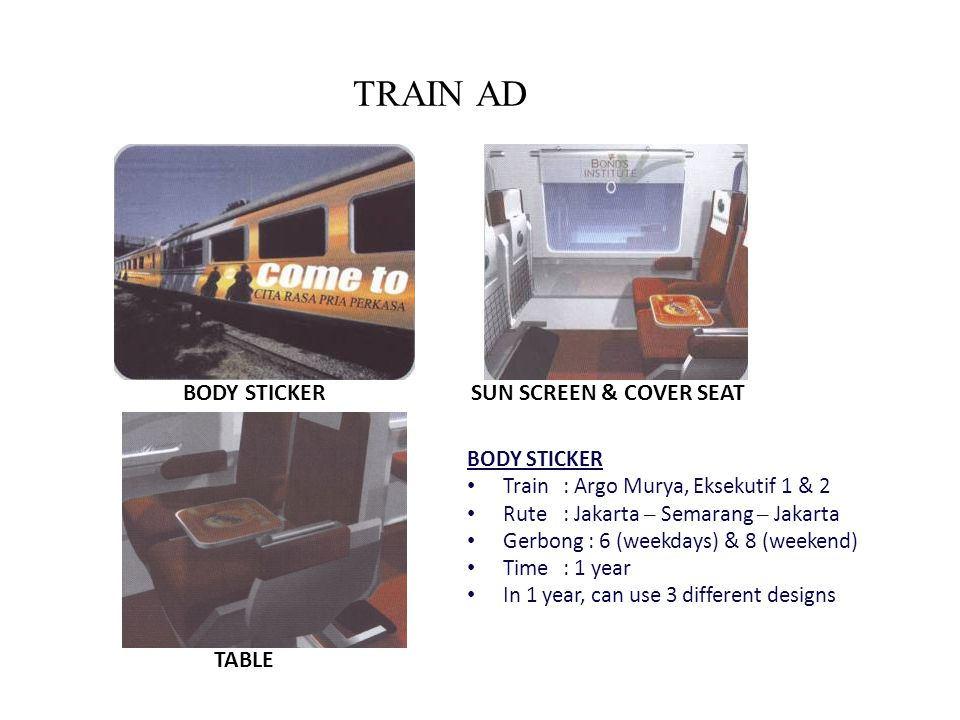TRAIN AD BODY STICKER SUN SCREEN & COVER SEAT TABLE BODY STICKER