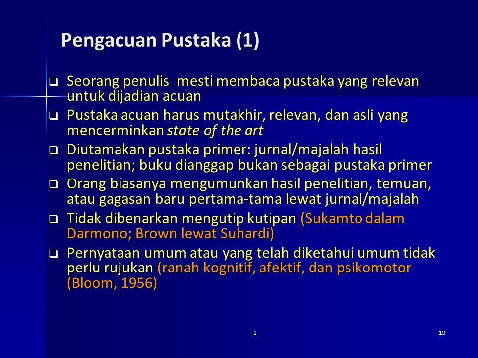 Pengacuan Pustaka (1) Seorang penulis mesti membaca pustaka yang relevan untuk dijadian acuan.
