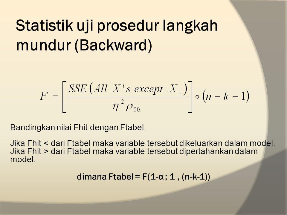 Statistik uji prosedur langkah mundur (Backward)