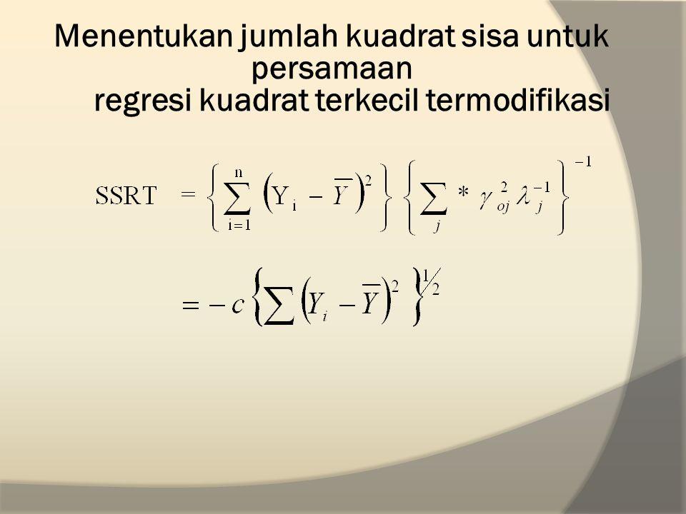 Menentukan jumlah kuadrat sisa untuk persamaan