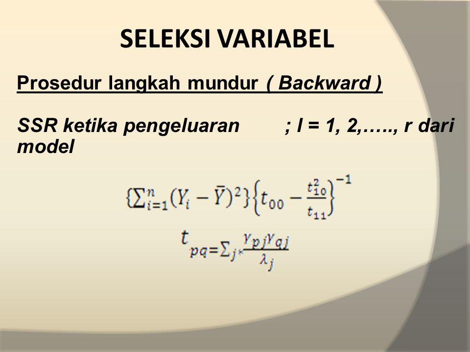 SELEKSI VARIABEL Prosedur langkah mundur ( Backward )