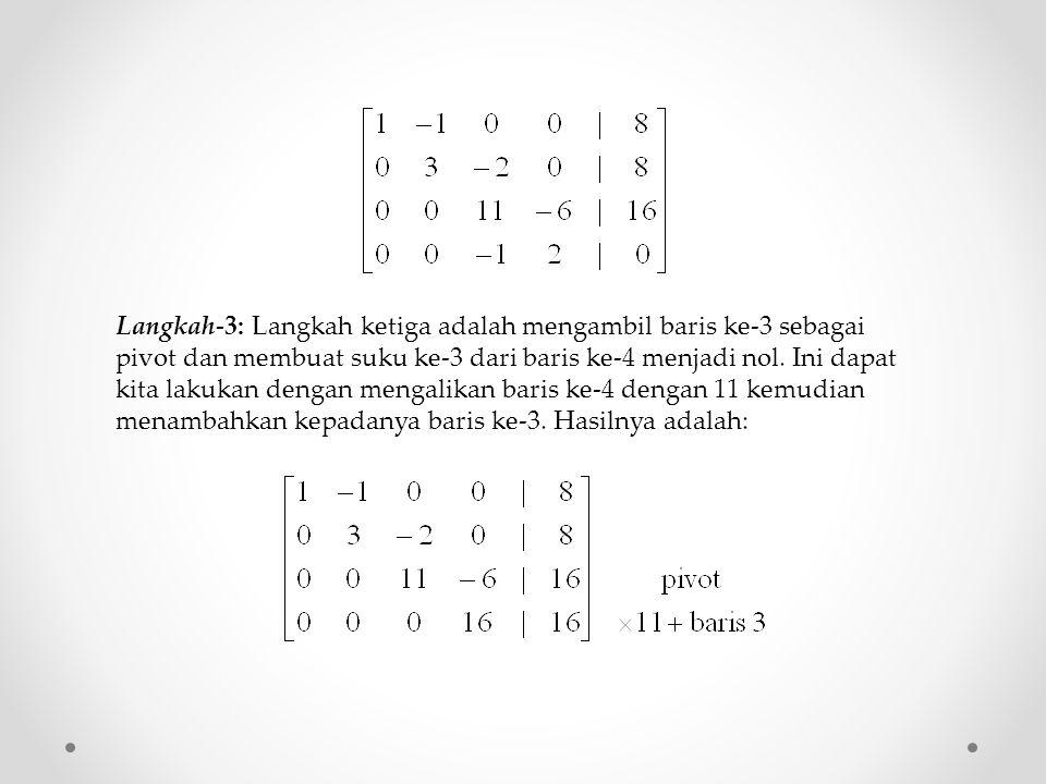 Langkah-3: Langkah ketiga adalah mengambil baris ke-3 sebagai pivot dan membuat suku ke-3 dari baris ke-4 menjadi nol.