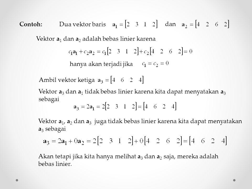 Contoh: Dua vektor baris. dan. Vektor a1 dan a2 adalah bebas linier karena. hanya akan terjadi jika.