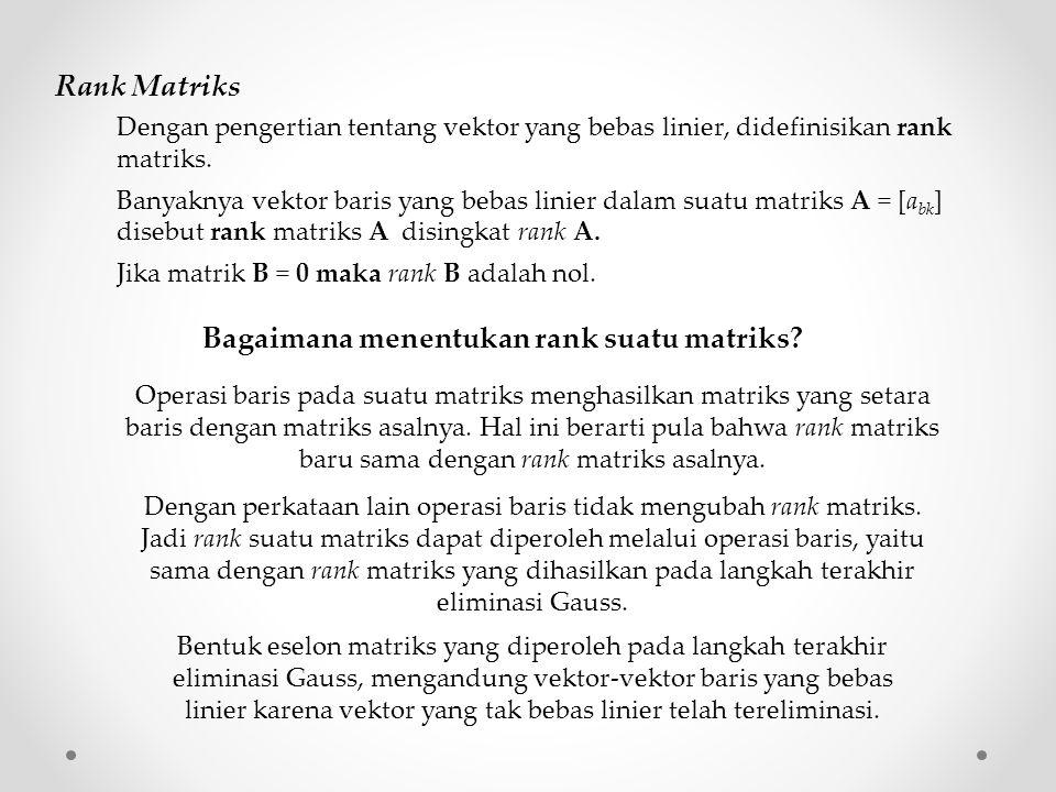 Bagaimana menentukan rank suatu matriks