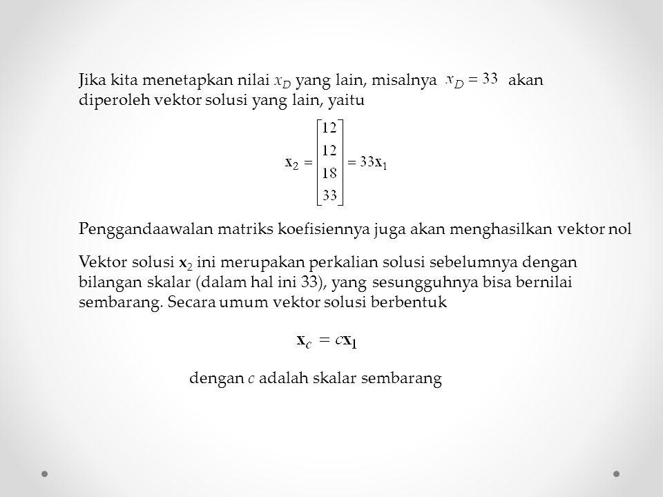 Jika kita menetapkan nilai xD yang lain, misalnya akan diperoleh vektor solusi yang lain, yaitu