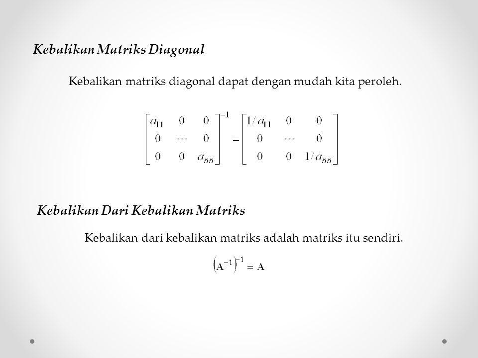 Kebalikan Matriks Diagonal