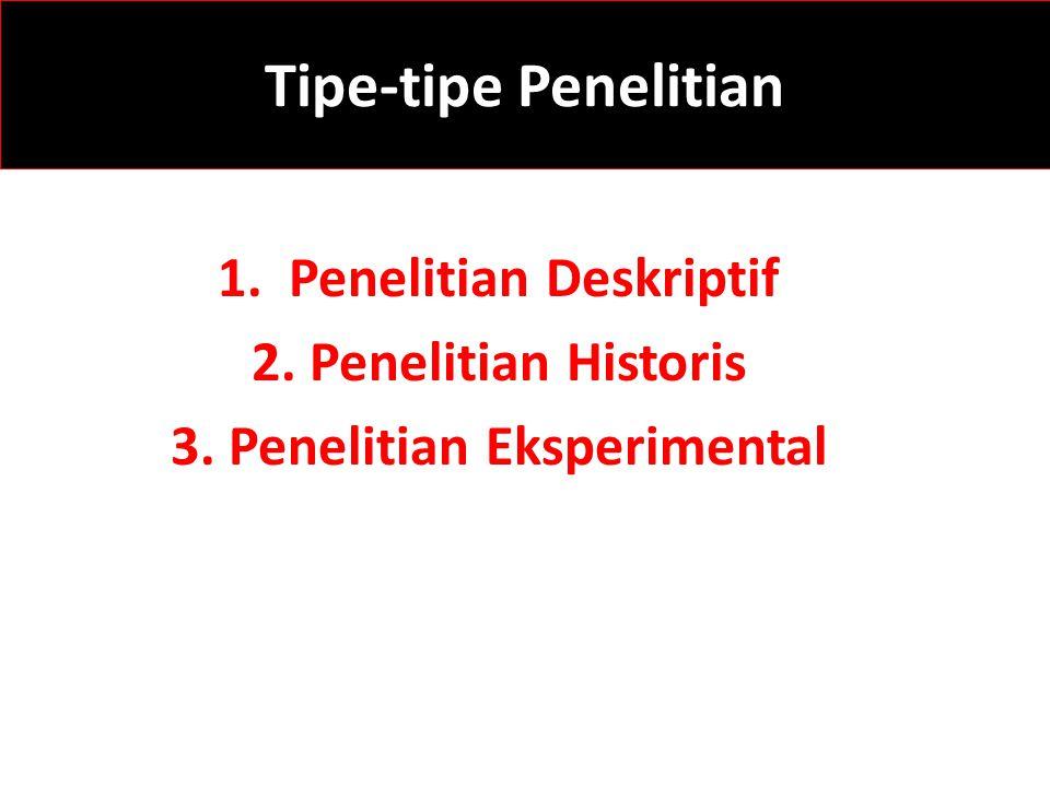 1. Penelitian Deskriptif 3. Penelitian Eksperimental