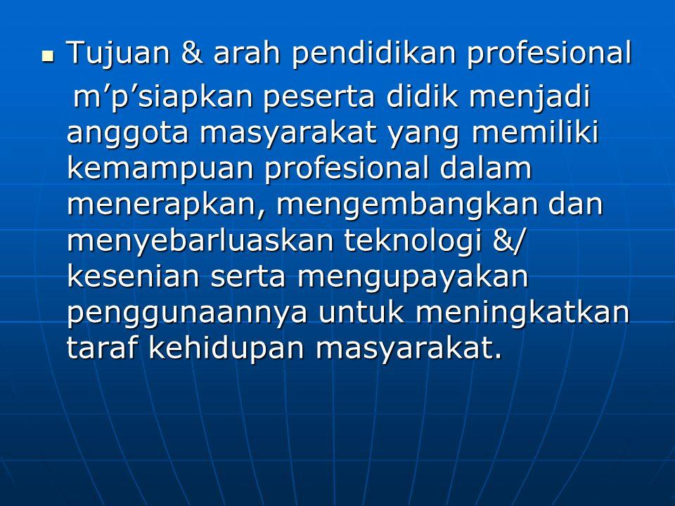 Tujuan & arah pendidikan profesional
