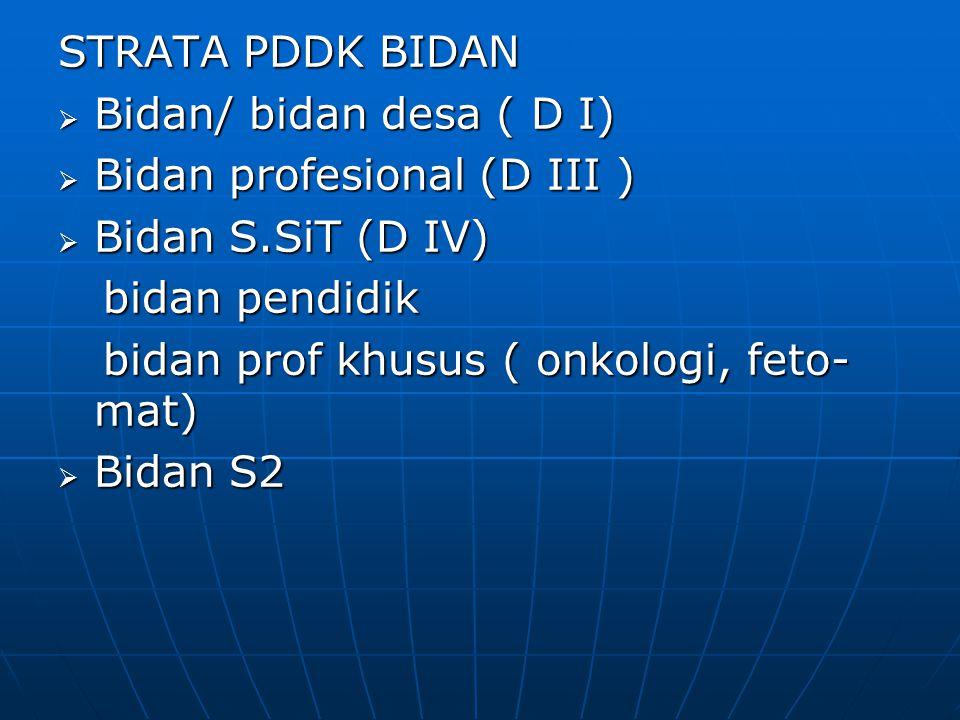 STRATA PDDK BIDAN Bidan/ bidan desa ( D I) Bidan profesional (D III ) Bidan S.SiT (D IV) bidan pendidik.
