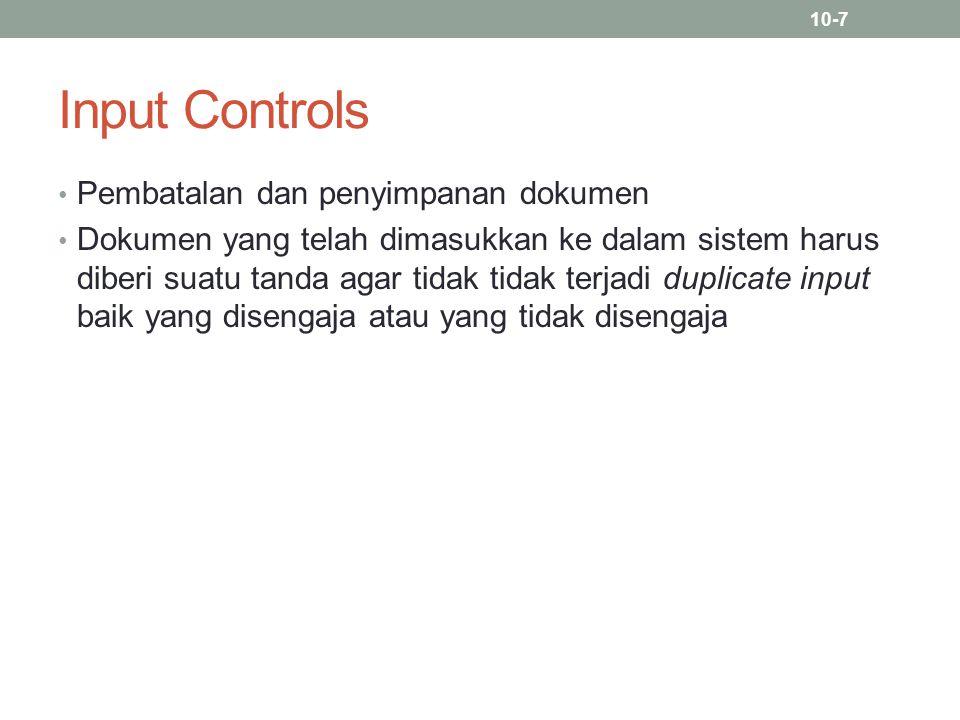 Input Controls Pembatalan dan penyimpanan dokumen