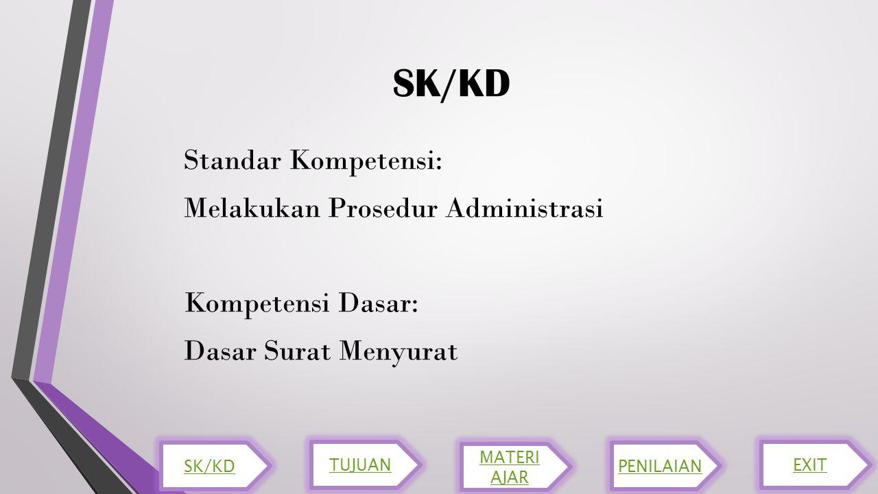 SK/KD Standar Kompetensi: Melakukan Prosedur Administrasi Kompetensi Dasar: Dasar Surat Menyurat SK/KD.