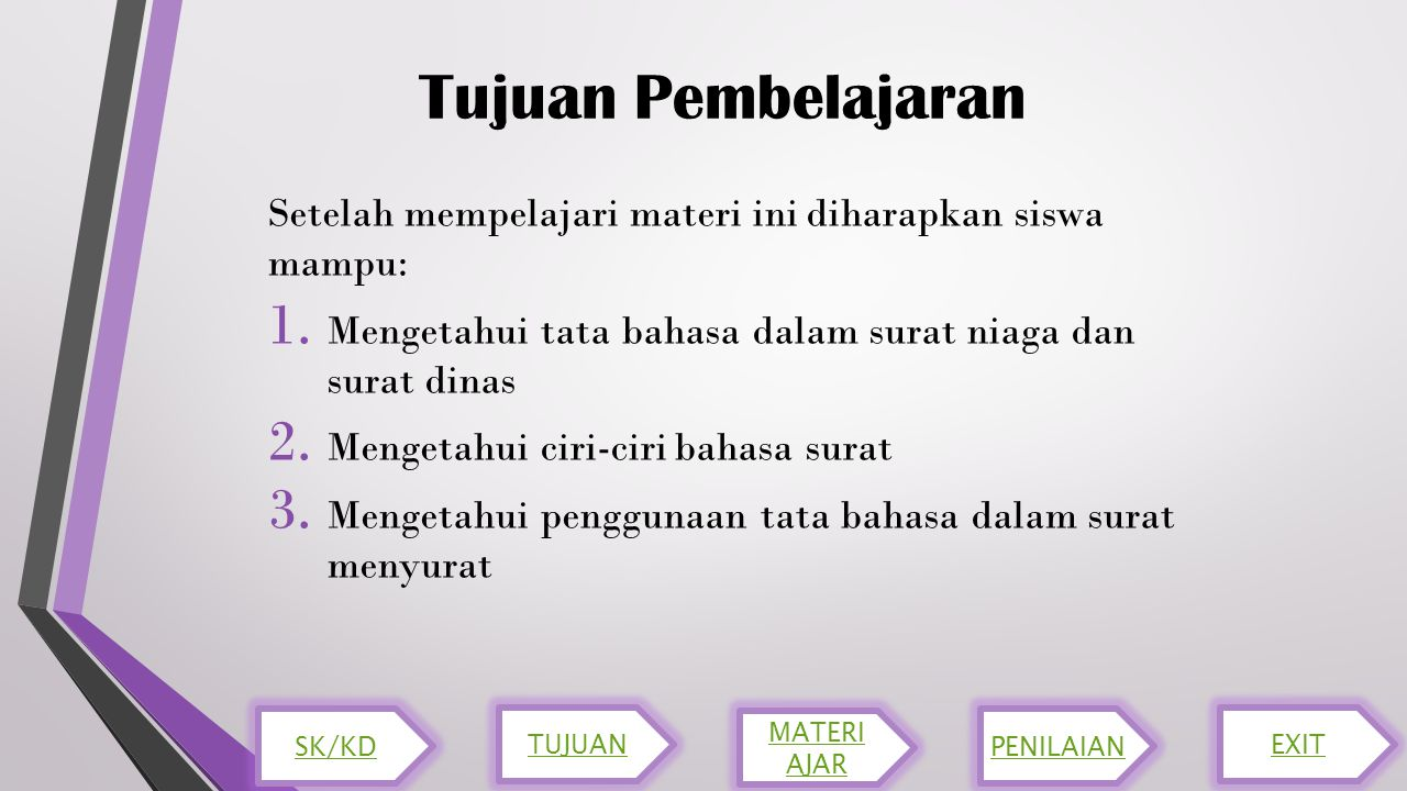 Tujuan Pembelajaran Setelah mempelajari materi ini diharapkan siswa mampu: Mengetahui tata bahasa dalam surat niaga dan surat dinas.