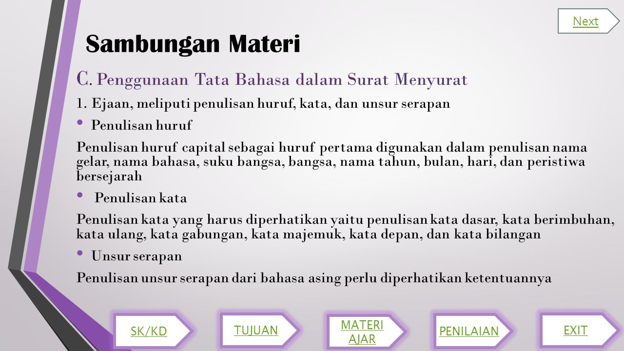 Sambungan Materi C. Penggunaan Tata Bahasa dalam Surat Menyurat