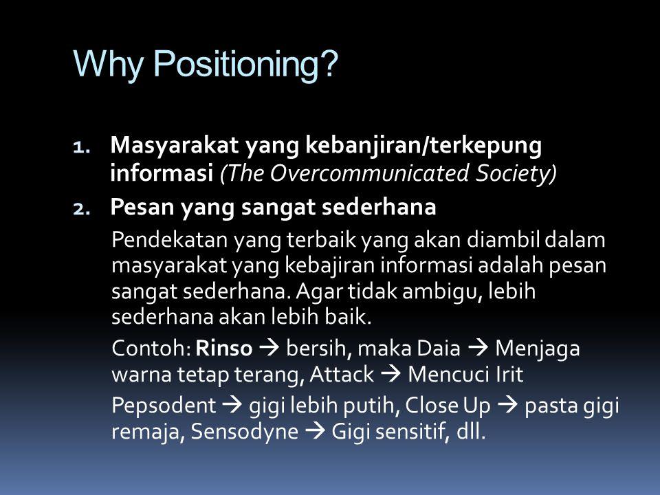 Why Positioning Masyarakat yang kebanjiran/terkepung informasi (The Overcommunicated Society) Pesan yang sangat sederhana.