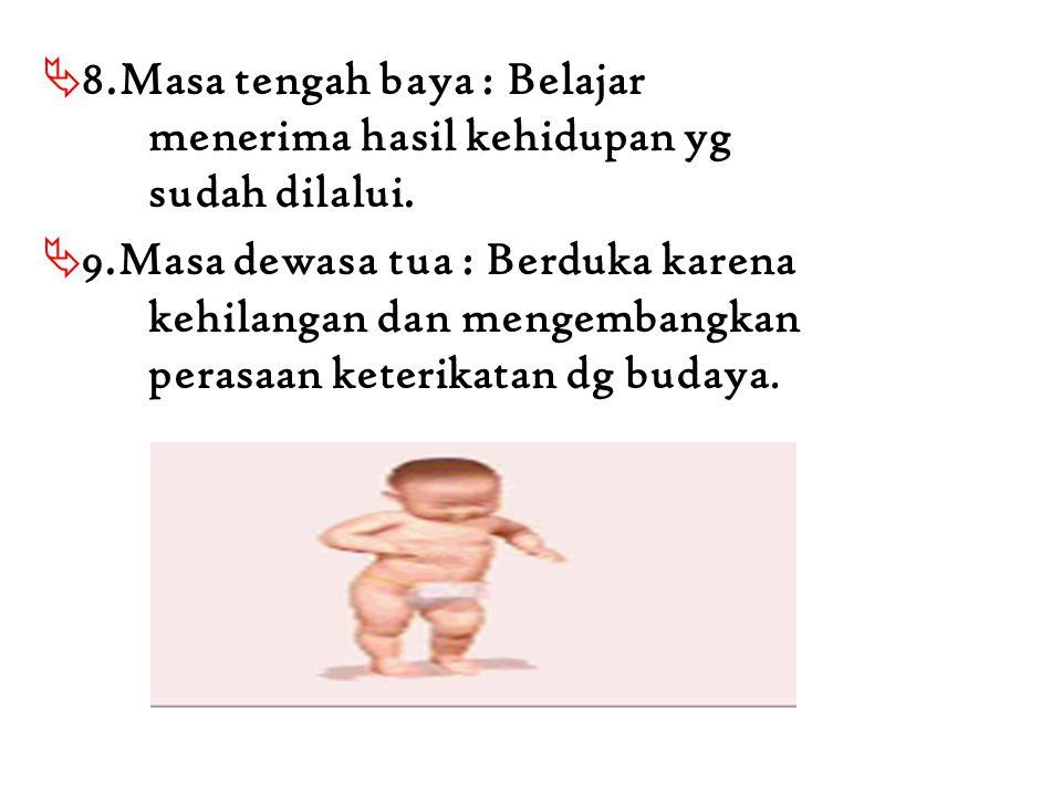 8. Masa tengah baya : Belajar. menerima hasil kehidupan yg