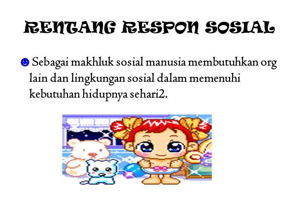RENTANG RESPON SOSIAL Sebagai makhluk sosial manusia membutuhkan org lain dan lingkungan sosial dalam memenuhi kebutuhan hidupnya sehari2.