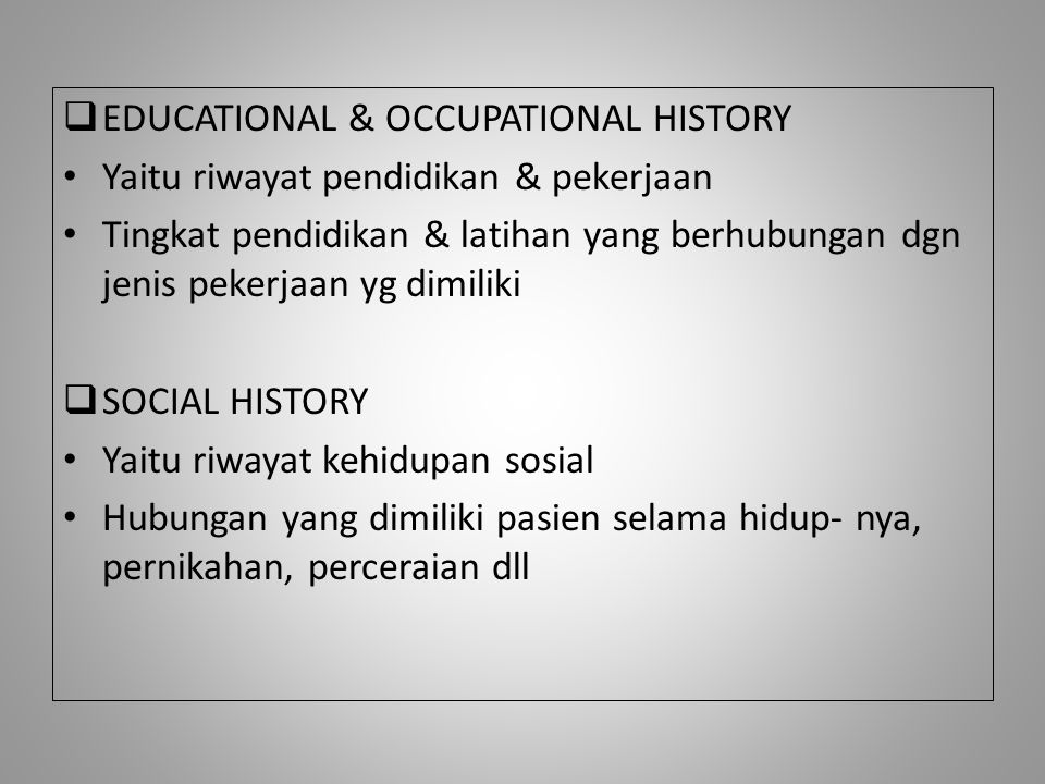 EDUCATIONAL & OCCUPATIONAL HISTORY