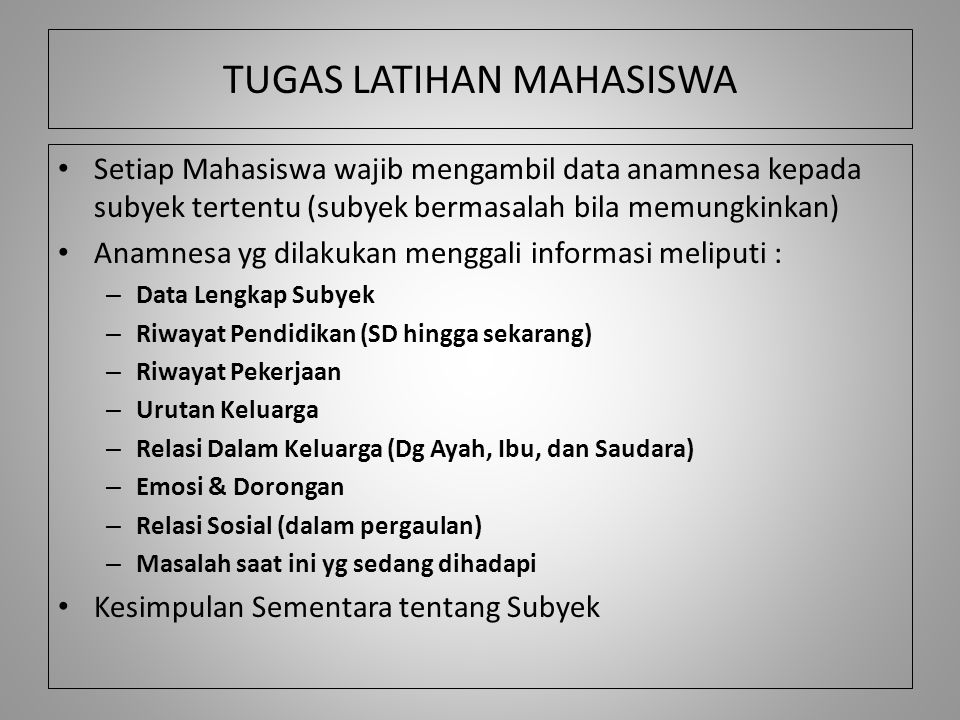 TUGAS LATIHAN MAHASISWA