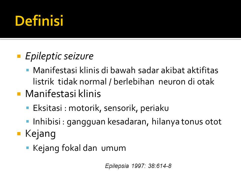 Definisi Epileptic seizure Manifestasi klinis Kejang