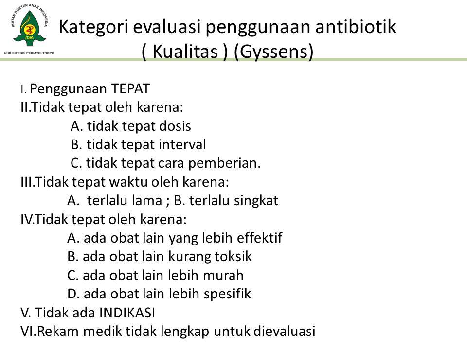 Kategori evaluasi penggunaan antibiotik