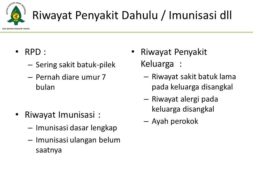 Riwayat Penyakit Dahulu / Imunisasi dll