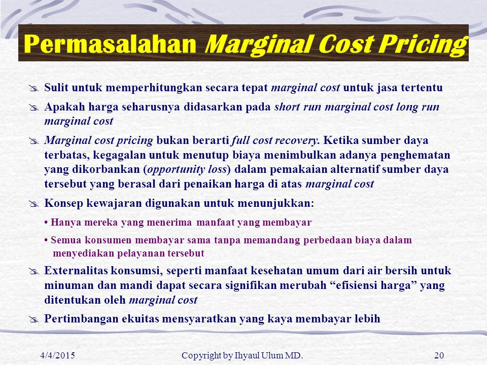 Permasalahan Marginal Cost Pricing