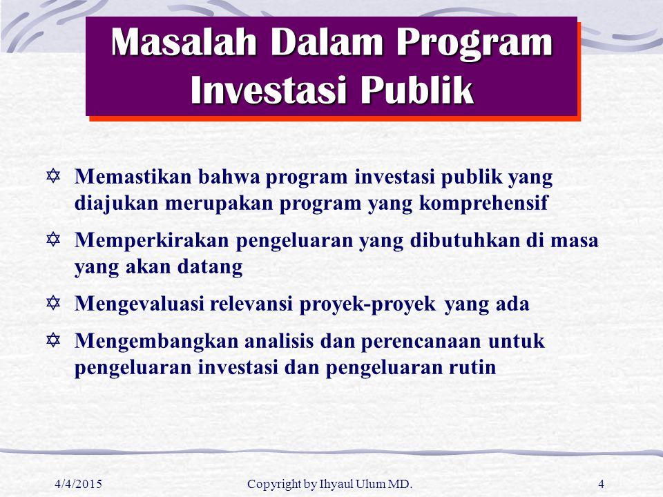 Masalah Dalam Program Investasi Publik