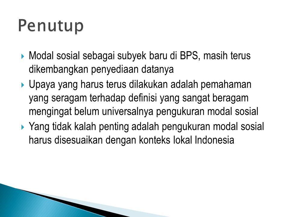 Penutup Modal sosial sebagai subyek baru di BPS, masih terus dikembangkan penyediaan datanya.