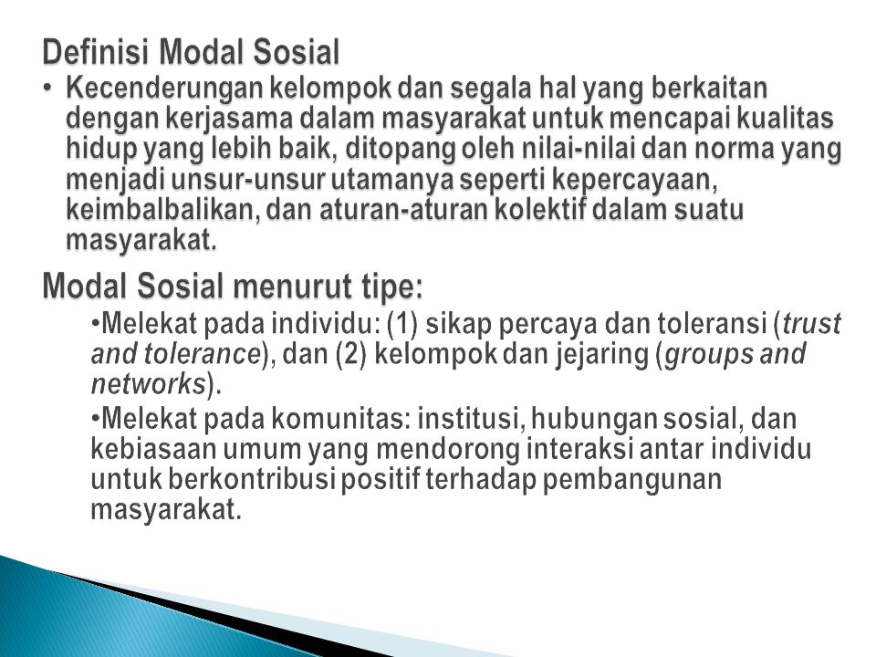 Modal Sosial menurut tipe: