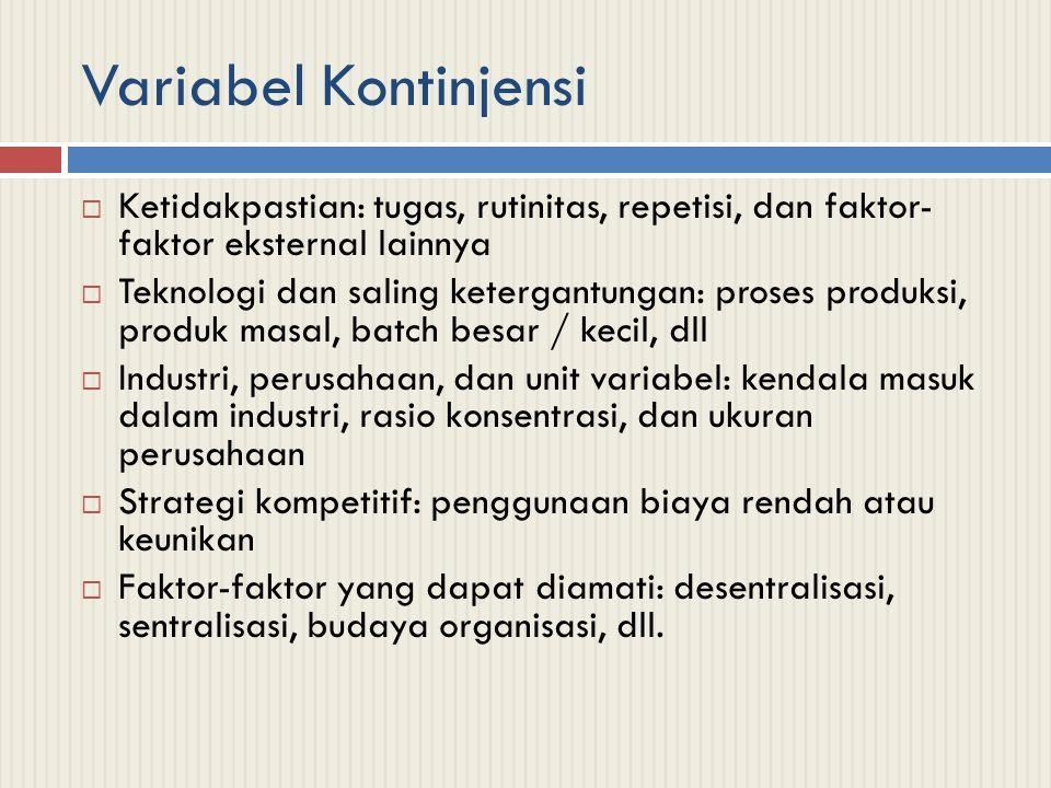 Variabel Kontinjensi Ketidakpastian: tugas, rutinitas, repetisi, dan faktor- faktor eksternal lainnya.